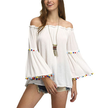 Off The Shoulder Colored Pompom Tops Shirt Women Cute White Blouse