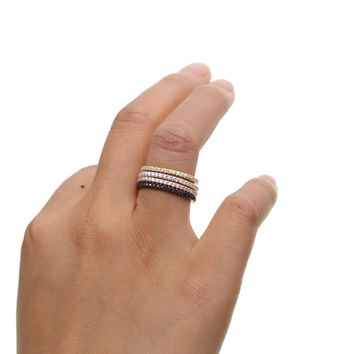925 sterling silver 4 colors cz full eternity  band stack stackable thin delicate engagement band fashion 925 ring
