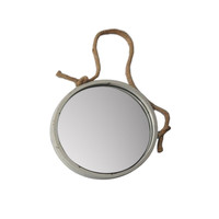 Round Metal Framed Nautical Porthole Wall Mirror with Jute Rope Hanger and Distressed Finish 14-in