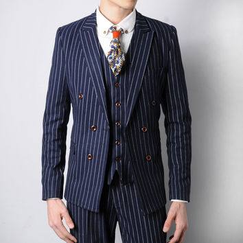 Pinstriped Double-breasted Suit