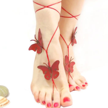 Butterfly Barefoot Sandal, Barefoot sandal, Feminine Jewelry, Red, Sexy anklet, Stylish, Beach Jewelry, Yoga Anklet, Nude shoe, Bellydance