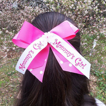 Girls Pink Hair Bow,Pink and White, Mommy's Girl ribbon, stacked