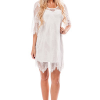 Off White 3/4 Sleeve Lace Dress