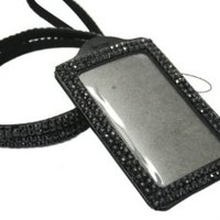 Rhinestone Bling Lanyard with Horizontal Lined ID Badge Holder and Key Chain (Black)