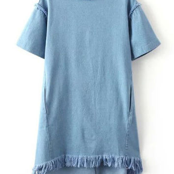 Blue Crew Neck Tassel Denim Dress | MakeMeChic.COM