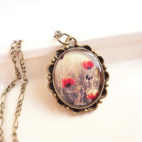 SALE - Red Poppies - bronze necklace