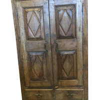 Eclectic Brown Wooden Antique Armoire with Drawers Florida