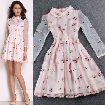 Pink Floral Collared Mesh Sleeves Ruched Swing Mini Dress