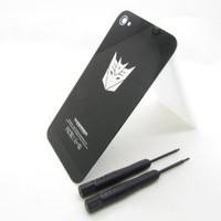 TONYYAN Transformers Autobots or Decepticons Replacement Glass Back Battery Cover Housing With Frame for iPhone 4s ATT Verizon (fit all iphone 4s, Decepticons black)