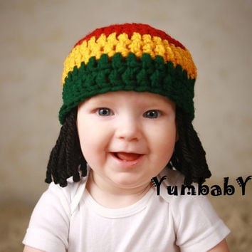 Baby Hats Rasta Beanie Wig Photo Props Toddler Costume by YumBaby