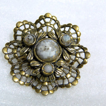 Gold Confetti Cabochon Vintage Filigree Brooch, Dollar Days Sale