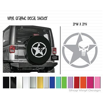 United States Army Star with Punisher Vinyl Graphic Decal Sticker    Universal Sizing