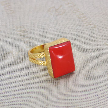 Red Coral Ring - Yellow Gold Ring - Handmade Ring - Semi Precious Ring - Square Shape Ring - Statement Ring - Red Stone Ring - Fashion Ring