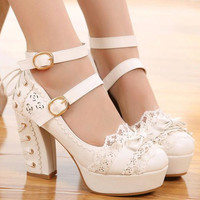 Women High Heel Lolita Pumps Laced Up Heel Design New 2017 Ladies Bow Shoes Chunky Heel Ankle Buckles Japanese Style