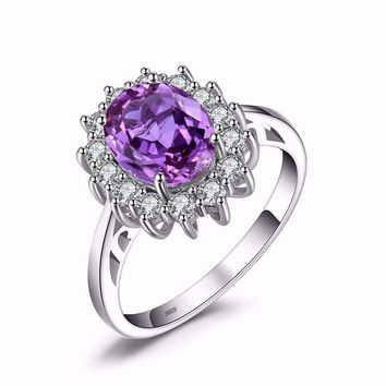 2.6ct Alexandrite Sapphire, 925 Sterling Silver Princess Diana Ring