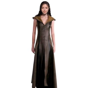 Cool Women Fashion Sexy Slim Lace Up Leather Medieval Ranger Long Dress Adult Coats Cosplay Disfraz Mujer Costume HalloweenAT_93_12