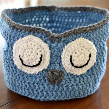 Owl Storage Basket-Crocheted Owl Basket-Crocheted Basket-Storage Basket-Blue-Sleepy Owl.