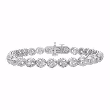 Sterling Silver 1.00 CTTW Round Cut Diamond Circle Link Eternity Bracelet (I-J,I3)