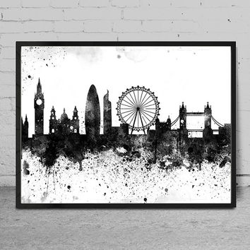 London skyline, London print, London abstract, Watercolor Art print, London skyline, Wall Art Print decor, Watercolor Painting -x83