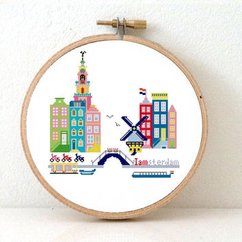 Amsterdam - Modern Cross Stitch Pattern. Easy Embroidery pattern PDF to make Amsterdam cityscape. Instant Download