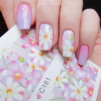 4 Patterns Pink Rose Flower Nail Water Decals Elegant Floral Nail Art Full Transfers Stickers C160-C163 #20434