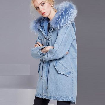 Trendy 2018 Fox Fur Hooded  Women Winter Denim Jacket Coat Cotton Inner Denim Coat Outerwear Female Loose Casaco Feminino Jacket Parkas AT_94_13