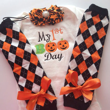 baby girl 1st halloween outfit 1st boo day outfit baby halloween legwarmers baby
