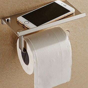 Bathroom Set Toilet Paper Phone Holder with Shelf Stainless Steel Paper Holder Tissue Boxes Bathroom Mobile Phones Towel Rack