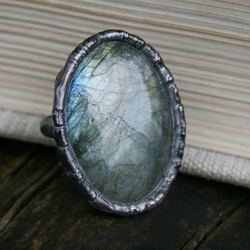 labradorite ring, statement ring, gemstone ring, romantic ring, stone ring, flashy, romantic ring, boho ring, organic ring, adjustable ring