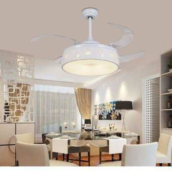DCCKHD9 Invisible ceiling chandelier fan restaurant Fan light bedroom living room frequency co