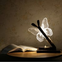 Abstract 3D LED Butterfly Light Desk Table Lamp Room Decoration USB Night Lights