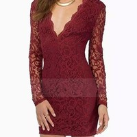 Womens Lace Dress - Red Lace / Low V-Cut Neckline