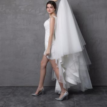 Wedding Dress with Detachable Skirt Illusion Lace Back Two Way Long Short