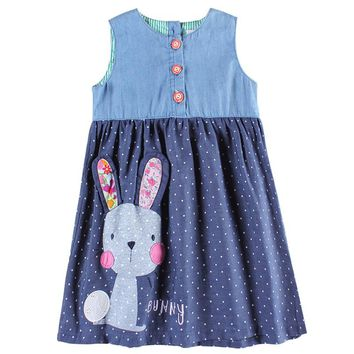 Girls party dresses nova kids jeans clothes fashion rabbit baby girls frocks summer  girls dresses children's wear dress
