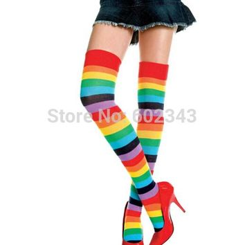 Cute Rainbow Striped Stockings Thin Legs Colored Thigh Highs Over The Knee Long Cotton Stocking For Girls Ladies Women