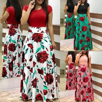 Womens Fashion Casual Floral Printed Maxi Dress Short Sleeve Party Long Dress