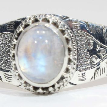 Beautiful Etched Sterling Silver Rainbow Moonstone Cuff Bracelet