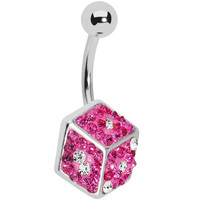 Pink Gem Paved Dice Belly Ring