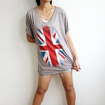 UK Flag Tshirt Union Jack Flag Screen Printed Women Tee shirts V Neck Union Jack T Shirt Woman Size L