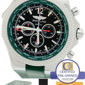 Men's Breitling Bentley GMT British Racing Green A47362 Chronograph Watch