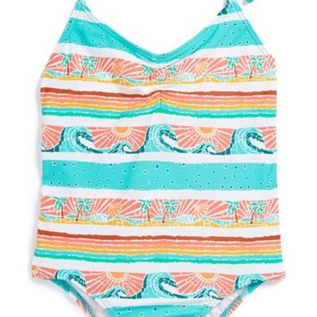 Girl's Roxy 'Sea You Soon' V-Neck One-Piece Swimsuit