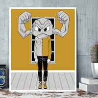 GEODUDE , Wall Art Prints, Modern Decor, Black and White Prints, Wall Decor, Wall Prints, Home Decor.