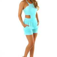 Great Expectations Romper: Aqua