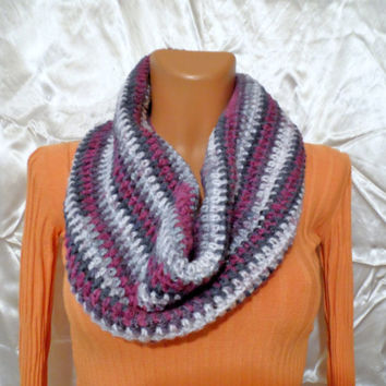 Chunky Tee Circle Cozy Scarf Collar Purple, Lilac, Gray, Grey, Dark Blue, Blue Color Unisex READY tO SHIP