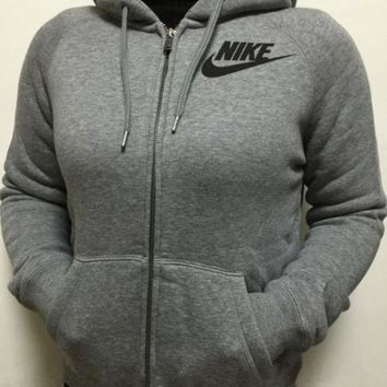 LMFON Nike Gray Zip Up Hoodie Jacket Sweater Sweatshirts