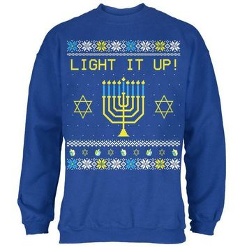 DCCKIS3 Hanukkah Light It Up Ugly Christmas Sweater Mens Sweatshirt