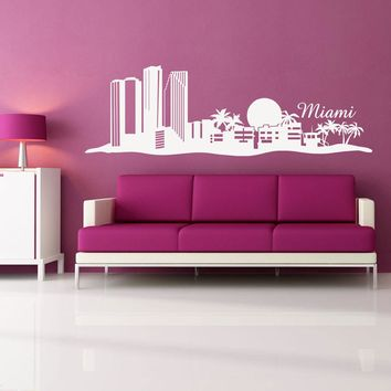 Miami Skyline Wall Decal