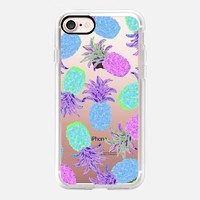 Pineapple Pandemonium Lavender Blue - Transparent/Clear Background iPhone 7 Case by Lisa Argyropoulos | Casetify