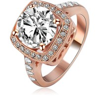 LZESHINE New Arrival Jewelry Rings  Rose Gold/ Silver Plated Clear Color Unisex Engagement Rings