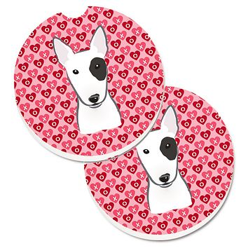 Bull Terrier Hearts Set of 2 Cup Holder Car Coasters BB5279CARC